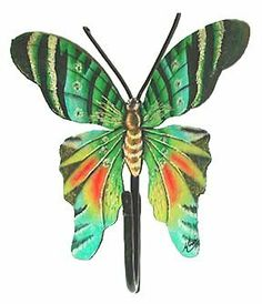 """Painted Metal Turquoise & Green Butterfly Hook - Caribbean Steel Drum . $15.95. Attractive bathroom decorative accessory. Realistically hand painted metal butterfly wall hook. Hand cut from recycled 55 gallon steel drums, not thin tin. You will appreciate the detailed painting of this butterfly design. This is not a flat piece. The wings are lifted to give a realistic look to the wall hanging. There is a hanger on the back of all of the butterflies. Size - 8"""" x 8"""" Butterfly Wall Decor, Butterfly Decorations, Green Butterfly, Butterfly Flowers, Butterfly Design, Butterflies, Metal Wall Decor, Metal Wall Art, Painted Metal"""