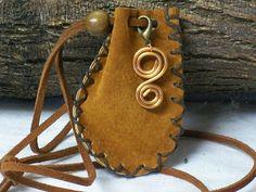 Handmade Copper Amulet, Leather Medicine Bag, Sage Pouch, Black Powder, Stone