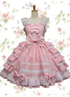 Cheap Sweet Pink And White Straps Sleeveless Empire Bow Knee-length Cotton Lolita Dress With Ruffles