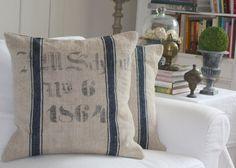 Authentic Antique Grain Sack Pillow Slip by AtelierBe on Etsy