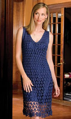 Free pattern for a #Crochet dress.  This is grogous! I'd probably use cotton thread (size 3 maybe) instead of nylon as it may be softer.  Or any DK weight yarn that met guage.