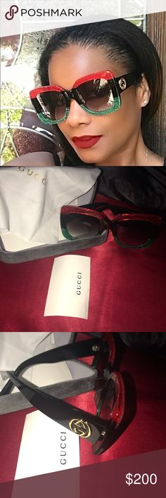 b38f3cb4cf5 Authentic Oversized Gucci Sunglasses Transparent acetate frame with green  and red Web detail-this detail