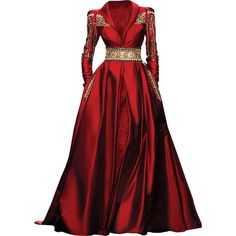 Randa Salamoun - edited by Satinee ❤ liked on Polyvore featuring dresses, gowns, vestidos, long dresses, long red dress, red evening dresses, red evening gowns and red dress