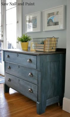 Love this tone of blue! Upcycled Blue Chest Of Drawers :: Hometalk