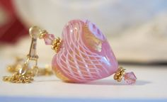 Venetian Zanfirico Pink Heart 14K Gold Fill by BellaRosinaJewelry, $70.00