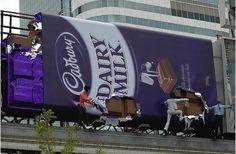 ingenius marketing > billboard: Cadbury choco being manufactured, 2007 Street Marketing, Guerilla Marketing, Event Marketing, Marketing Ideas, Creative Advertising, Ads Creative, Advertising Design, Advertising Ideas, Advertisement Examples