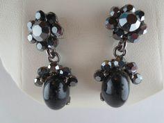 MACY'S Dangling Hematite Rhinestone Black Cabochon Earrings NEW in Jewelry Box