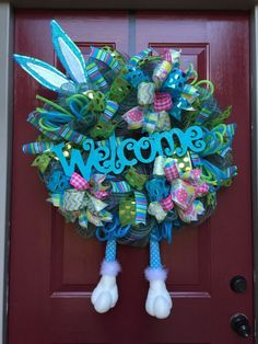 Ready to ship! Easter bunny wreath by Ms Sassy Crafts Easter Wreaths, Holiday Wreaths, Holiday Crafts, Wreath Crafts, Diy Wreath, Wreath Ideas, Easter Holidays, Easter Crafts, Easter Decor