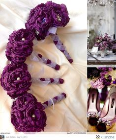 Love these flowers. Just switch out the ribbons with black ones (or charcoal) and you got it made!