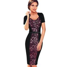 BRASEI 2016 Knee Length Patchwork Women pink Dress Elegant Tunic ... 52e54e3c1661
