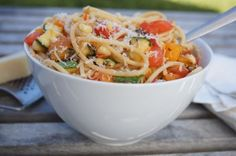 This is a tasty, simple, fresh summer vegetable pasta using tomatoes, zucchini, and corn at the peak of season.