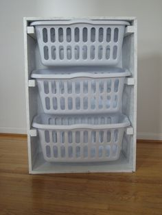 Laundry Basket Organizer - make it 4 baskets high, put it on wheels to take from closet to laundry room
