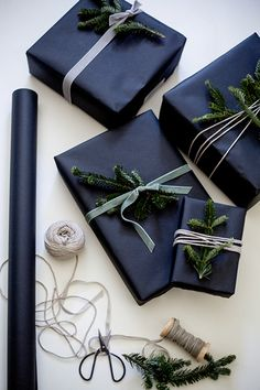 Wrapping Gifts 565905509411532377 - Dark & moody wrapping Black Gift Wrapping Ideas Source by mirgravier Holiday Gifts, Christmas Gifts, Christmas Decorations, Christmas Mantles, Office Decorations, Christmas Villages, Christmas Ornaments, Blue Christmas, Christmas Holidays