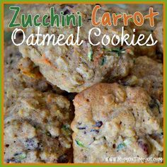 Zucchini Carrot Oatmeal Craisin Cookies (not a GF recipe, sub flours and sugers) Oatmeal Craisin Cookie Recipe, Zucchini Oatmeal Cookies, Oatmeal Cookie Recipes, Carrot Cookies, Coconut Oatmeal, Biscotti Cookies, Coconut Cookies, Coconut Sugar, Lemon Zucchini Cakes