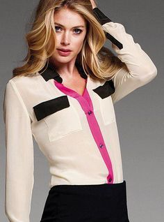 Silk Shirt - Victoria's Secret from Victoria's Secret. Shop more products from Victoria's Secret on Wanelo. Moda Outfits, Zeina, Moda Chic, Office Looks, Office Fashion, Formal Fashion, Fashion Outfits, Womens Fashion, Women Lingerie