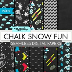 Digital Paper Pack Chalk Snow Fun  SEAMLESS by DigiBonBons on Etsy