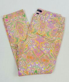 Chaps Women's Multi-Colored Floral Jeans Tapered Leg Size 12 #Chaps #TaperedLeg