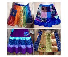Grateful Dead Skirt,patchwork short skirt,festival skirt