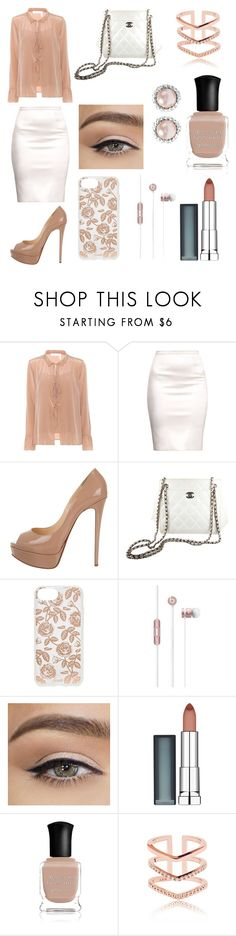 """""""Untitled #76"""" by eliinako ❤ liked on Polyvore featuring See by Chloé, Christian Louboutin, Chanel, Sonix, Beats by Dr. Dre, Maybelline, Deborah Lippmann and Miu Miu"""