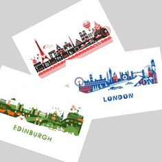 Local Illustrator Kate McLelland has captured some of your favourite European Cities including beautiful Edinburgh, in her Skyline Postcard Pack. Perfect gift to take back from your European Tour!