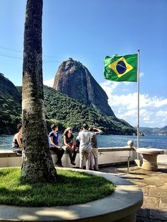 Praia Vermelha, Urca, Rio de Janeiro...Brazilian Flag...hoisted for the World Cup 2014...awesome...#eatingLay here sooo fabulous...