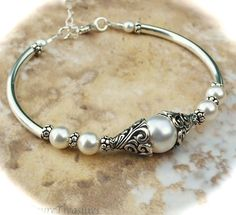 pearl and curved bead bracelet