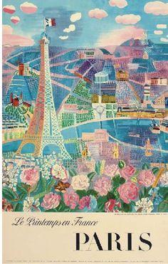 Paris Le Printemps en France 1966 Travel Poster by Dufy:
