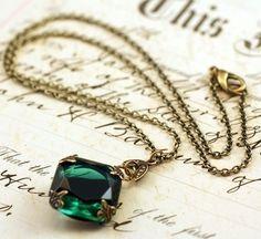 Emerald parel ketting messing mayfair vintage stijl door mylavaliere