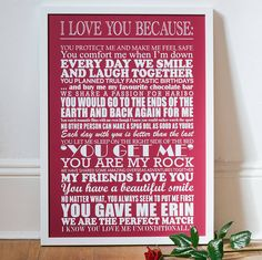 personalised 'i love you because…' print by milly's cottage | notonthehighstreet.com