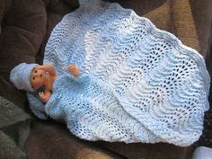 Baby Afghan Blanket Comforter Hand Crafted Homemade Hand Knit Blue White Lacy New