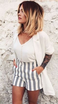 Striped shorts I Caroline Receveur & Co #noramalouf