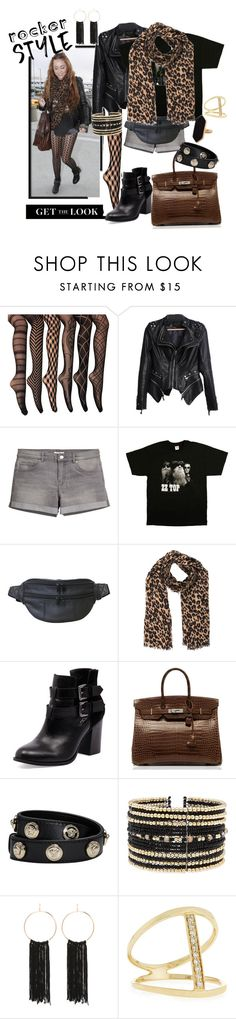 """Rocker style - Miley"" by fashion-film-fun ❤ liked on Polyvore featuring H&M, AmeriLeather, Louis Vuitton, Bonbons, Hermès, Versace, Eloquii, Bebe, Sydney Evan and Jaeger"