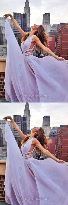 Purple Prom Dresses Long, 2018 Formal Dresses Cheap, A-line Party Dresses V-neck, Chiffon Evening Pageant Dresses Sexy