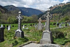 graves and crosses - and a grand view, Glendalough, Co. Wicklow, Ireland