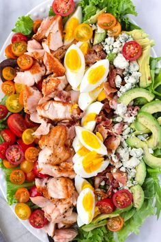 This easy and beautiful grilled salmon cobb salad will impress everyone. Made with fresh vegetables, avocado, hard boiled eggs, and blue cheese Healthy Salads, Healthy Nutrition, Healthy Eating, Healthy Recipes, Delicious Salad Recipes, Taco Salads, Hard Boiled, Boiled Eggs, Boiled Egg Salad