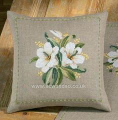White Lilies Cushion Front