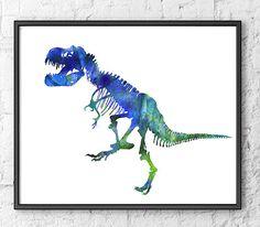 Art Print Dinosaur Watercolor Blue T-Rex Painting Dinosaur Bones Kids Room…