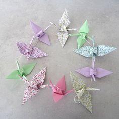Guirlande 10 grues à motif liberty en origami - rose vert lilas- décoration murale pour chambre bébé fille / enfant