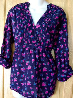 Womens TORRID Tunic Shirt FLORAL Size 3 3X Wrap TAB SLEEVES Roses Dressy CAREER #Torrid #Tunic #Career