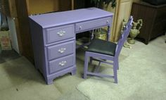 chalk painted desk and chair