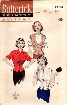 1950s Butterick 6074 UNCUT Vintage Sewing Pattern Misses Weskit Blouse Size 14…
