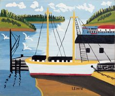 Ship in the Harbour Maud Lewis Oil on Board (11.5x13.5 in) circa 1958 at Mayberry Fine Art, June 1 to 30, 2013