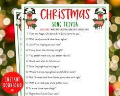 Christmas Song Trivia Game  Christmas Music Trivia Printable | Etsy