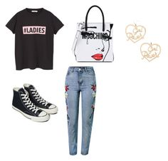 """""""Untitled #1"""" by maddison-little ❤ liked on Polyvore featuring MANGO, WithChic, Converse, Moschino, Forever 21, womensHistoryMonth, pressforprogress and GirlPride"""
