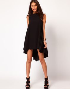 Swing Dress with Dipped Hem