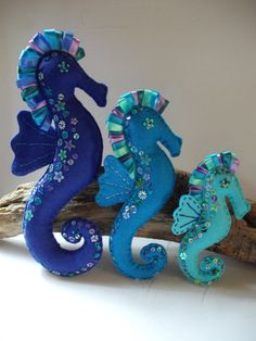 Seahorse Miniature Art Figure - Blue Set of Three on Etsy