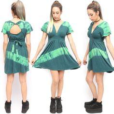 Hypnotik Green Tie Dye Boho Hippie Witch Summer Dress w Open Back Twist | eBay