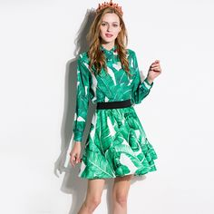 Green Dresses Fashion Full Sleeve Leaf Print Slim 2017 New Summer Women Diamonds Classic Turn-down Tunic Above Knee Dress