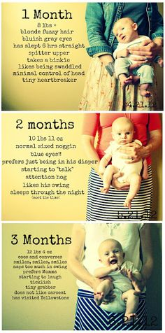 "What a great idea! Take a picture every month and add a few little details on baby. Then, make a photo ""baby"" book for a keepsake!"