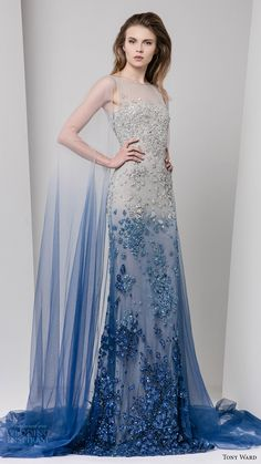 tony ward fall 2016 rtw sleeveless illusion jewel neck embellished evening gown grey blue degrade sheer cape dress
